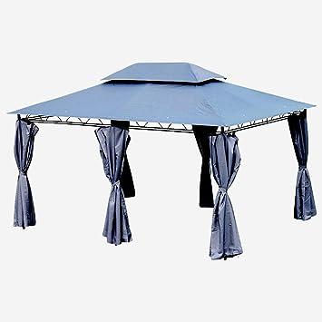 low priced 53017 70897 ASS Gartenpavillon Pavillon 3x4 Meter, 12m², Dach 100% wasserdicht und  UV30+ Sonnenschutz, mit 6 Vorhängen, rechteckig, Farbe:Anthrazit