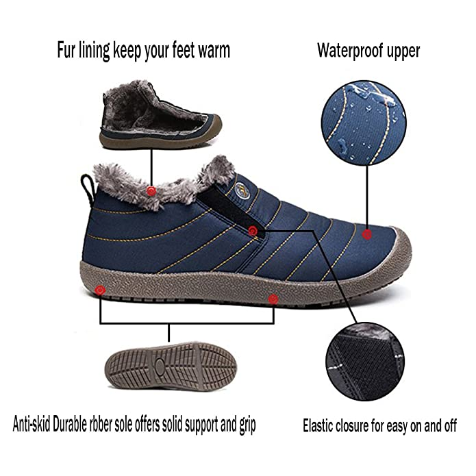 Gaatpot Bottines De Neige Hiver Fourrées Chaud,Outdoor Sports Imperméable  Boots Marche,Chaussures de Randonnée pour Homme Femme, Pointures de la 35 à  la 47  ... d599f8e381f9