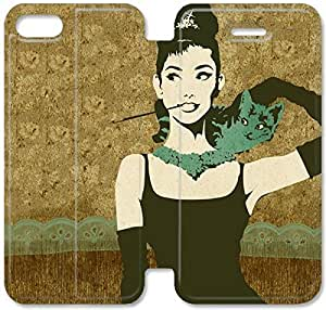 Flip Folio Leather Case for iPhone 5 5s Cell Phone Case Audrey Hepburn HPM4619828