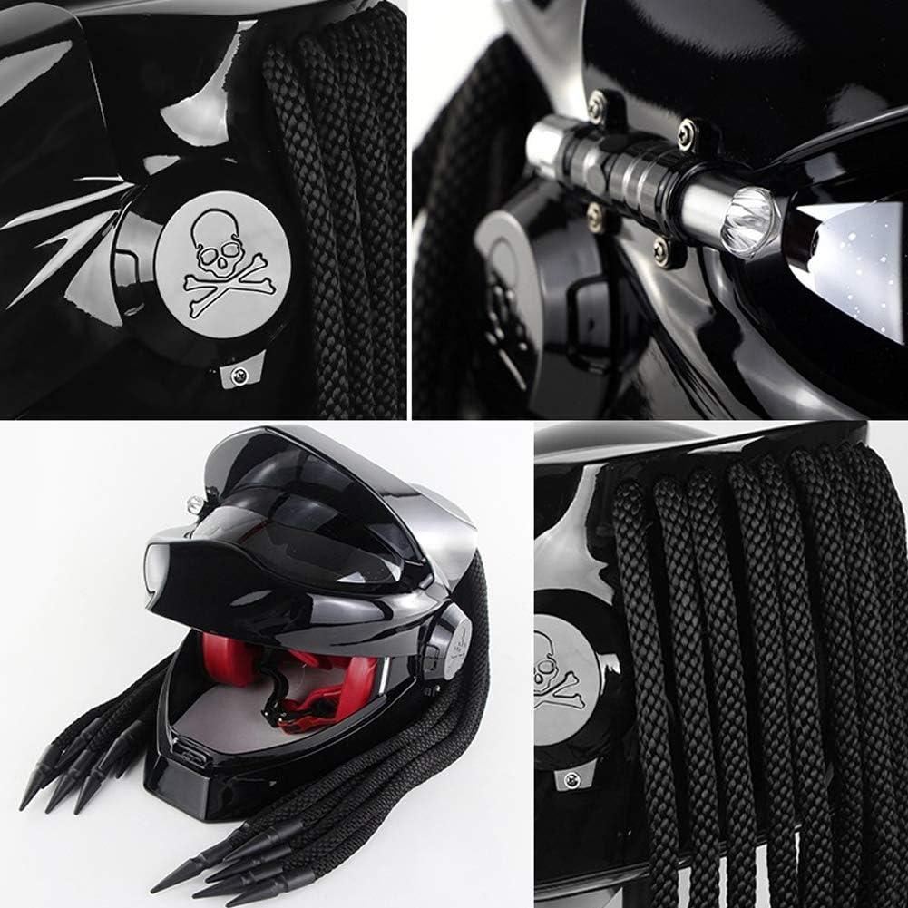 Black ACC Full Face Motorcycle Helmet with Goggles Predator Harley Retro Crash Motorcycle Helmet with Led Spotlights