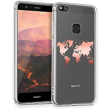 kwmobile Funda para Huawei P10 Lite - Carcasa Protectora de [TPU] con diseño de Mapa del Mundo en [Oro Rosa/Transparente]
