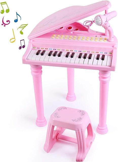 WUKONG99 piano de 31 teclas con taburete para niñas, juego de ...