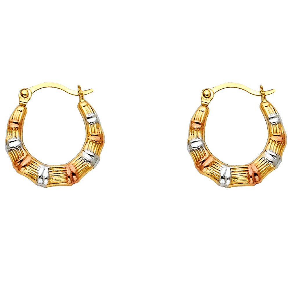 14K Tri Color Gold Fancy Hollow Hoop Hinged Earrings Ioka