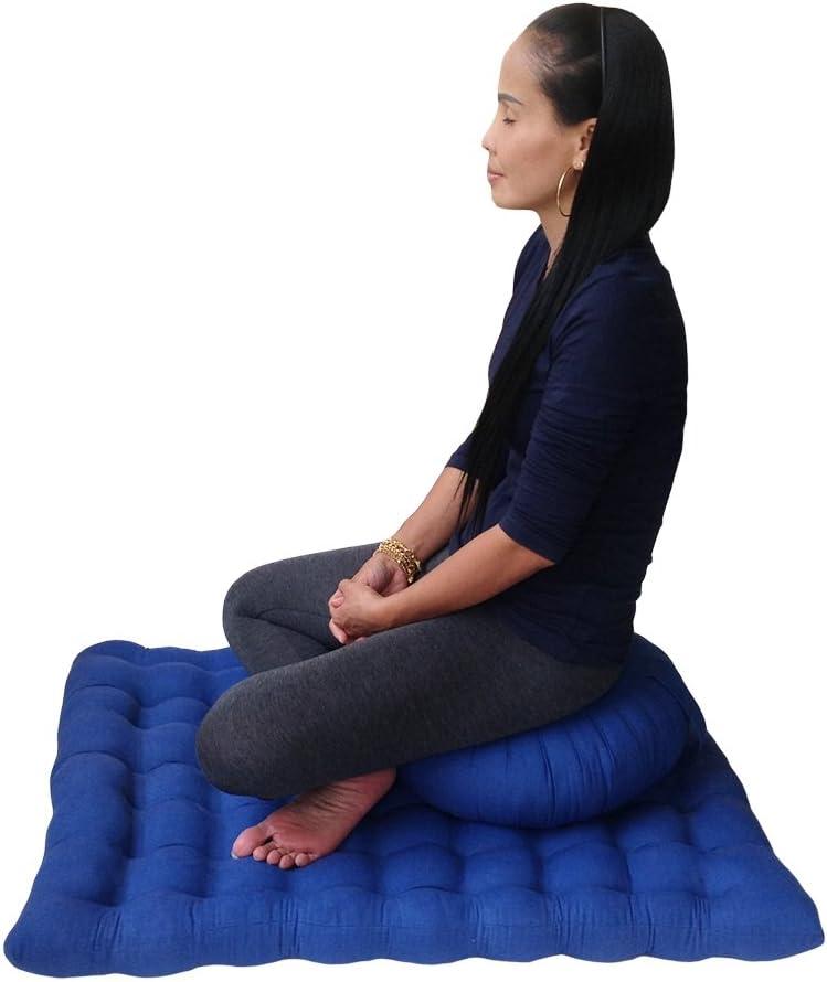 Set cojín de meditación con funda de algodón y relleno de ceiba orgánico Collumino