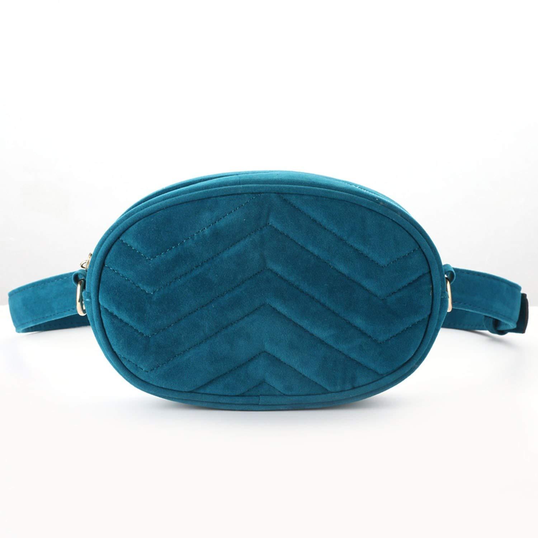 Waist Bag Round Belt Bag Luxury Corduroy Waist Pack,Black