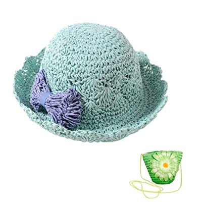 6c3df670 ACTLATI Kids Toddler Baby Crochet Bowknot Sun Hat Bucket Hat with Straw Bag