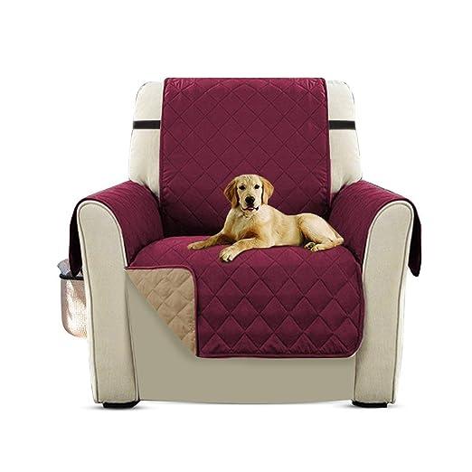 PETCUTE Cubre para Silla Fundas de Sofa Protector de sofá o sillón, Dos o Tres plazas Vino Rojo Silla