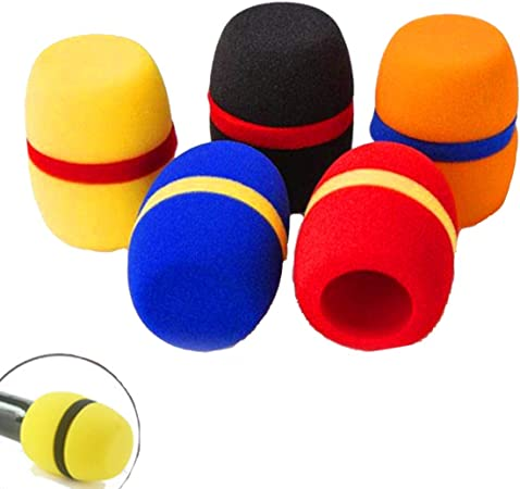 Dancepandas Espuma de Micrófono 5PCS Coloreado Pantalla Antiviento Microfono De Mano Cubierta de Espuma de Micrófono (Amarillo azul naranja rojo ...