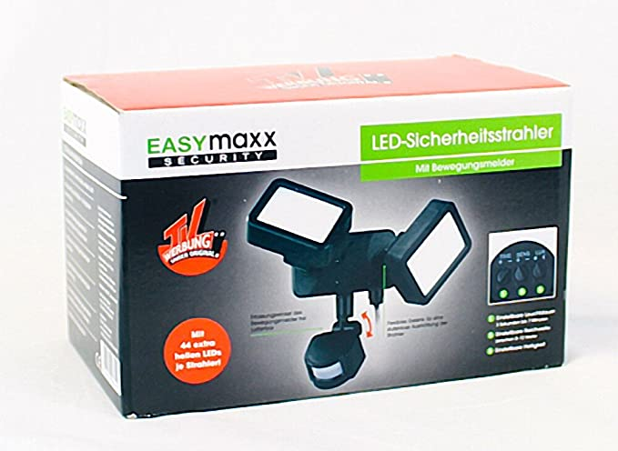easymaxx Security LED de exterior Foco | Foco Doble con detector de movimiento | ajustable,