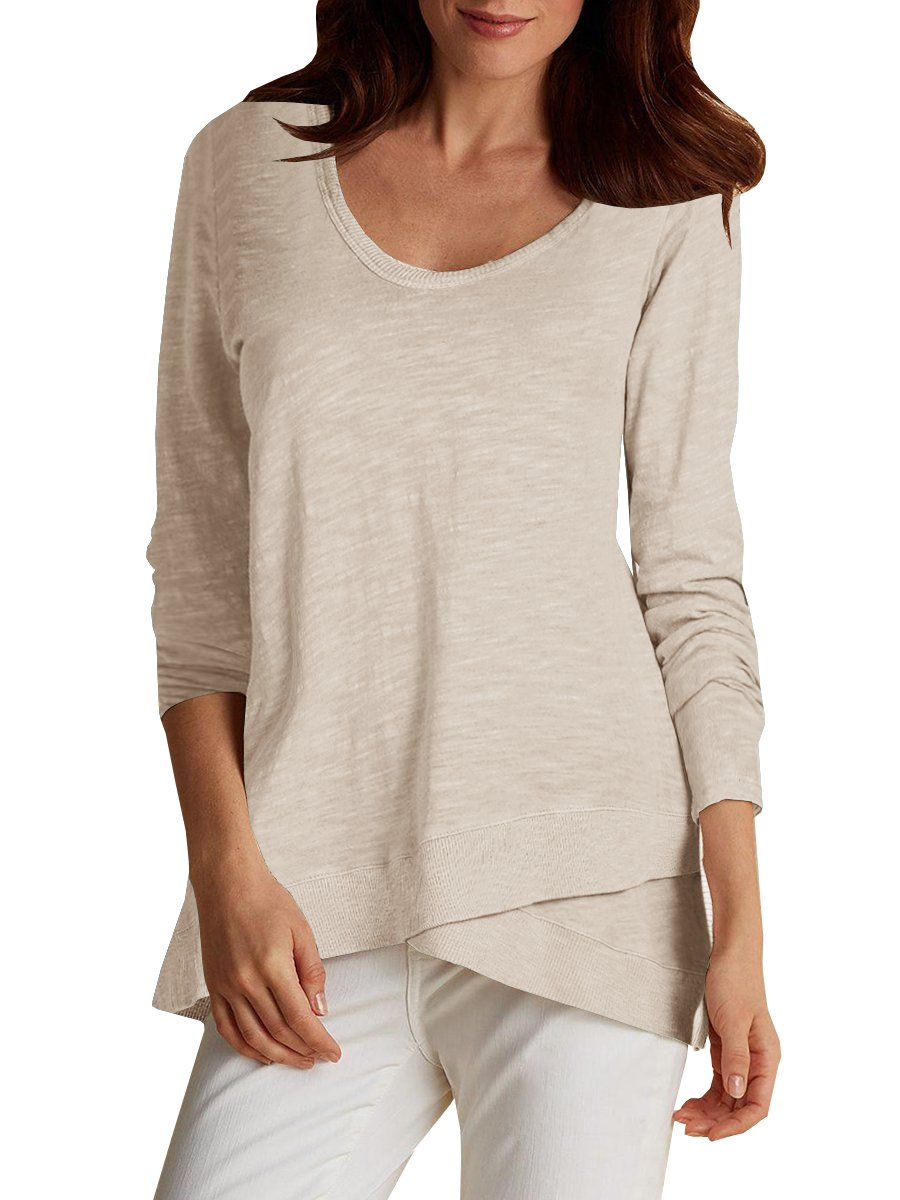 Pxmoda Women's Long Sleeve Faux Wrap Tunic T-Shirt Soft Cotton Loose Fit Blouse Tops (XL, Beige)