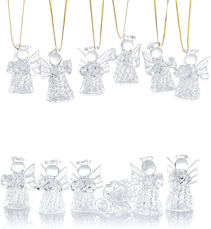 Nuptio 12 Pcs Beautiful Mini Clear Glass Hanging Angels Tree Ornaments Christmas Season Holiday Decorations Glass Art Prayer Guardian For Childen Teens Loved Ones Encouragement Home Kitchen