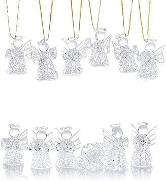 Decoraciones navide/ñas de Temporada navide/ña Colgando Adornos Nuptio Mini Adornos de Cristal Transparente para el /árbol de Navidad de los /ángeles Que cuelgan