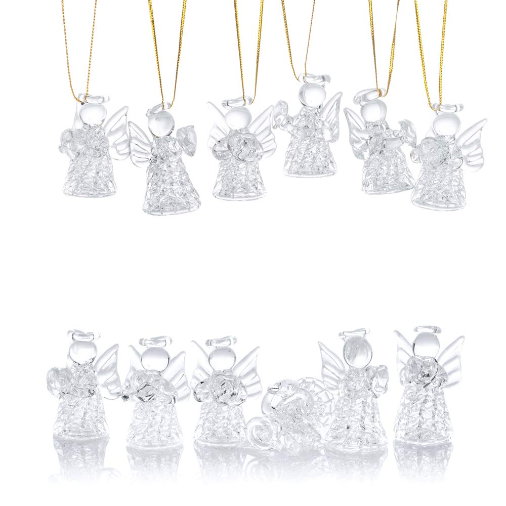 12 pz//Set Ornamenti di Vetro Angelo//Appendere Gli Ornamenti dellalbero di Natale//Decorazione dellalbero della tavola di Nozze