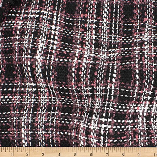(TELIO Frost Poly Tweed Black Rose Fabric by The Yard)