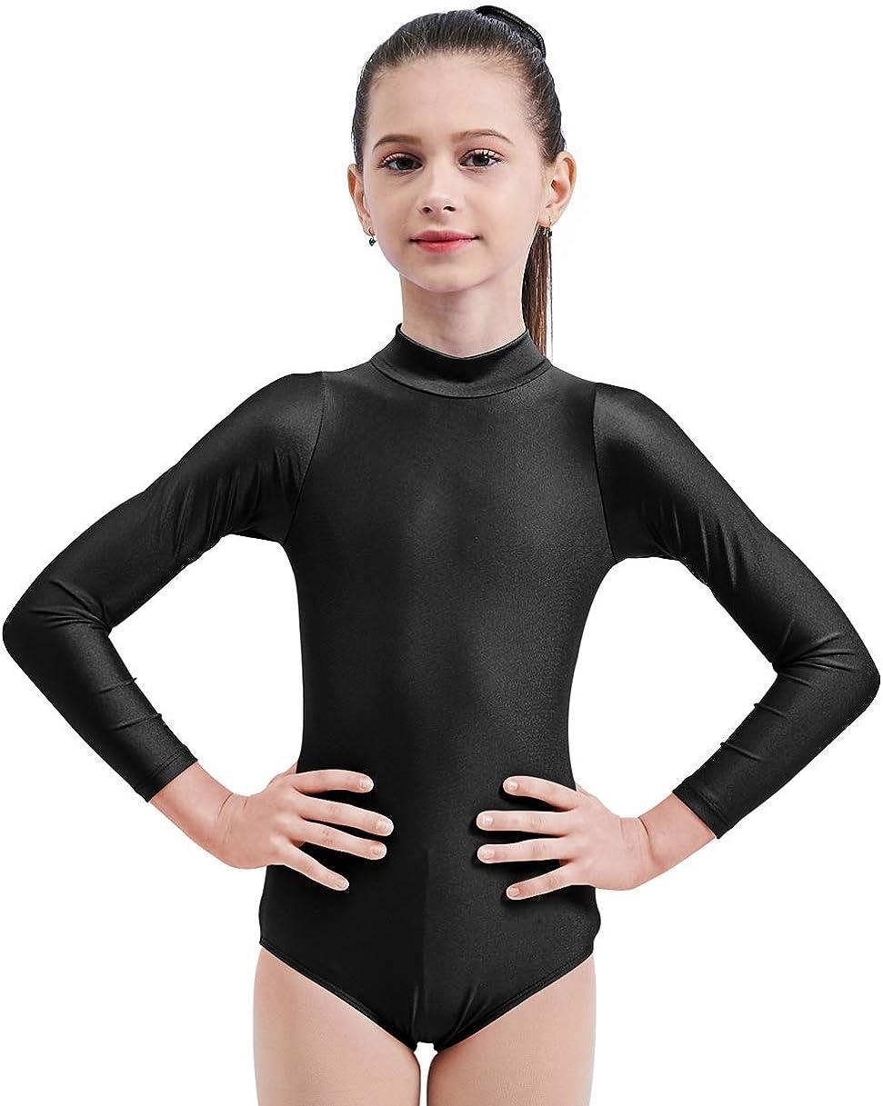 Mvefward Kids Girls Turtleneck Long Sleeve Leotard Gymnastics Black Size Small