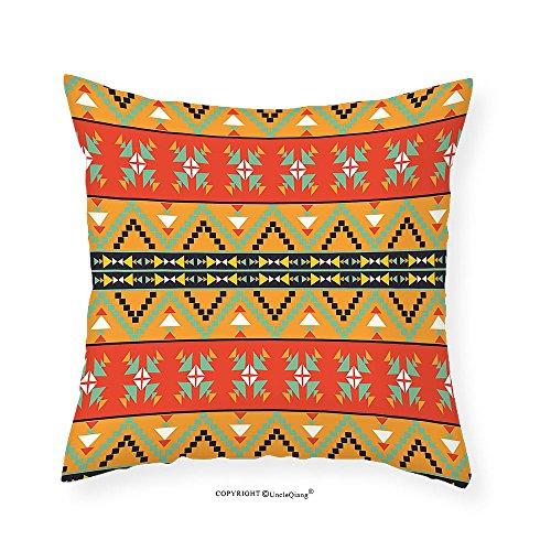 VROSELV Custom Cotton Linen Pillowcase Tribal Decor Aztec Motifs with Zigzags Geometric Design Pattern for Bedroom Living Room Dorm Orange Red and Fern Green 16