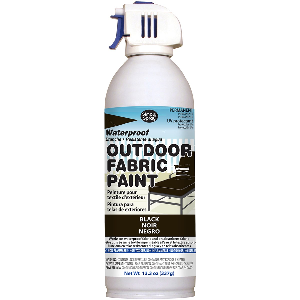Deval Products OF0046001M Outdoor Spray Fabric Paint, 13.3 oz, Black
