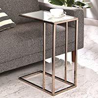 A Line Furniture Modern Design Chocolate Chrome Living Room Accent Table with Tempered Mirrored Glass Top