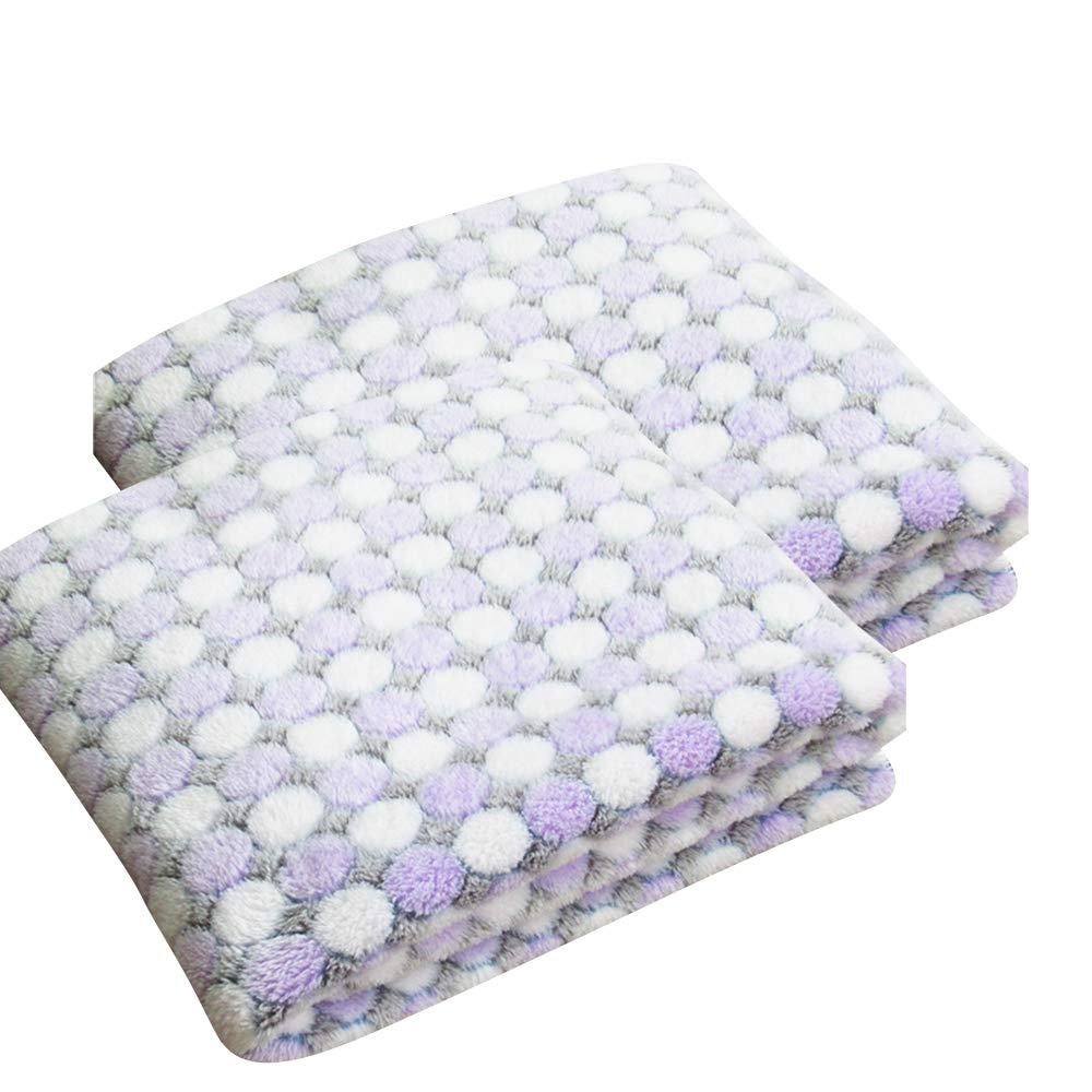 Purple L-100x80cm Purple L-100x80cm BBDOGO 2pcs Pack Super Soft Fluffy Puppy Pet Blanket Soft and Cute Warm Cat Dog Sleep Bed Mat CW051 (L-100x80cm, Purple)