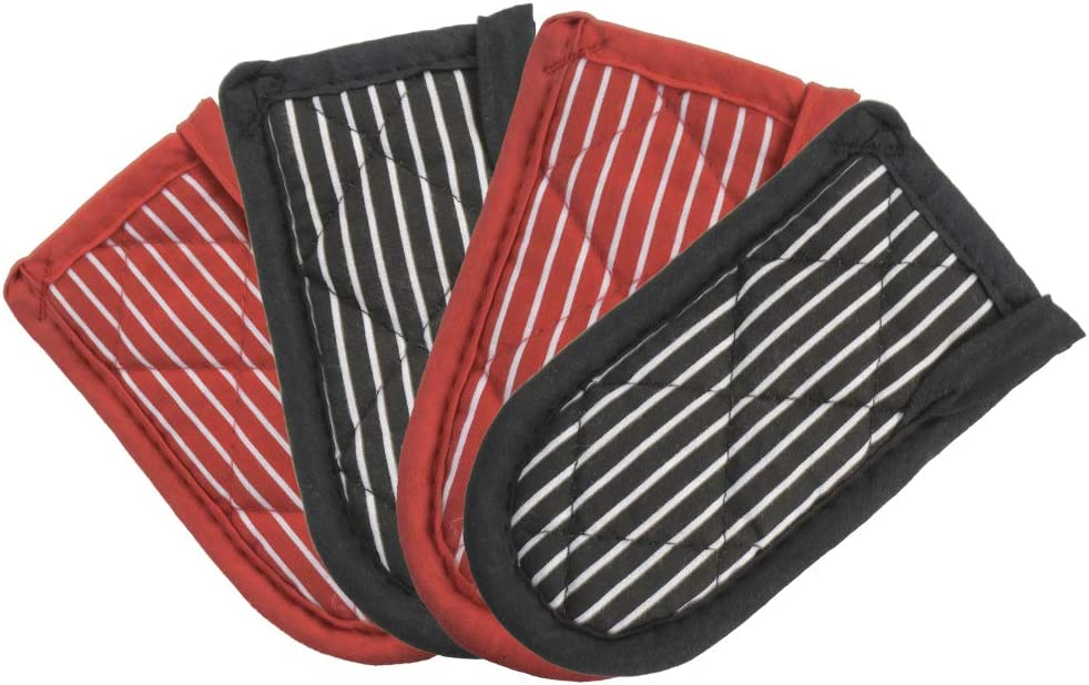 4pcs Cast Iron Skillet Handle Covers Pan Hot Handle Holders Black and Red Pot Handle Sleeves