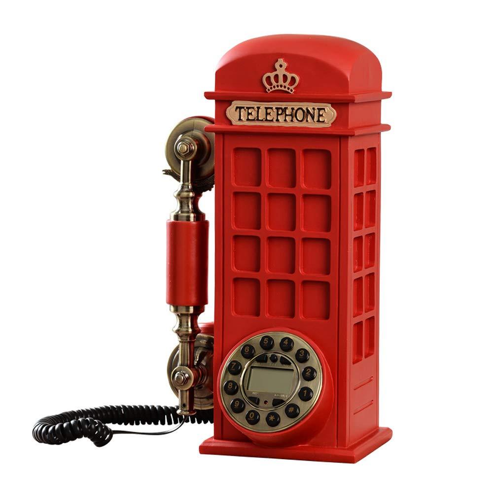 ZHILIAN Retro Telephone Rotate Dial Landline Household Fashion Fixed Telephone Red 35 17cm