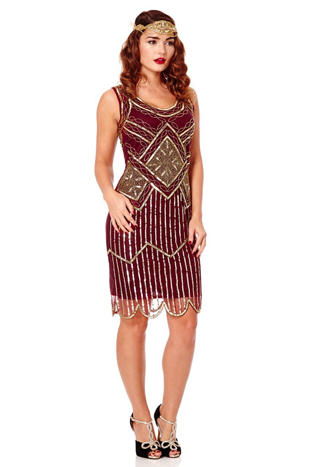 Edith Vintage Inspired Flapper Dress in Wine