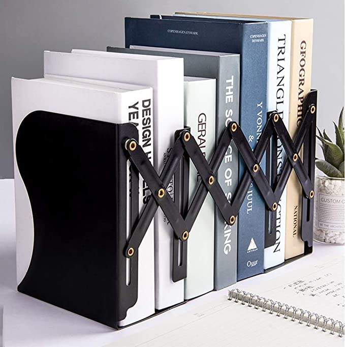 1//2Pcs Bookends Black Walnut Book Supports Rack Office Magazines Organizer Stand