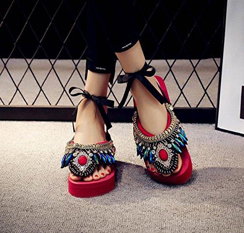 la Sandales Flip Womens Folk cousus Couleurs Flip Bohème Flop Rétro à Dames 6 main Style Pantoufles Gem Pantoufles Rouge C6FqAw