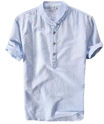 76a02caf6 Suncolor8 Men's Linen Short Sleeve Chinese Style Mandarin Collar T-Shirts |  Amazon.com