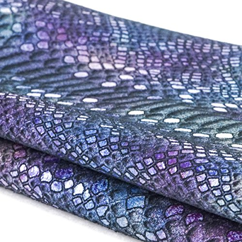 Springfield Leather Company Mystic Python Suede Cowhide Leather (By The Square Foot) (Black/Purple & Blue)