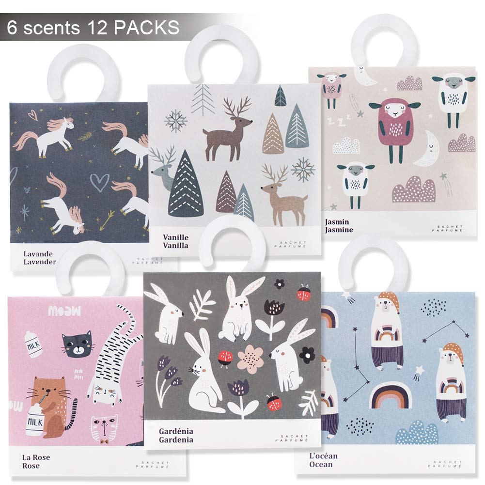 Rose Cottage 12Packs Closet Air Freshener Deodorizer Scented Sachets Bags for Drawer and Closet 6 Scents Xmas Gift Set C-01
