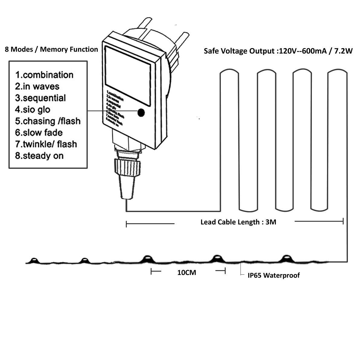 Rpgt 200 Led String Light 20m Silver Copper Wire Fairy Starry Lights Ledchristmaslightingusingtransistors 8 Modes With Safe