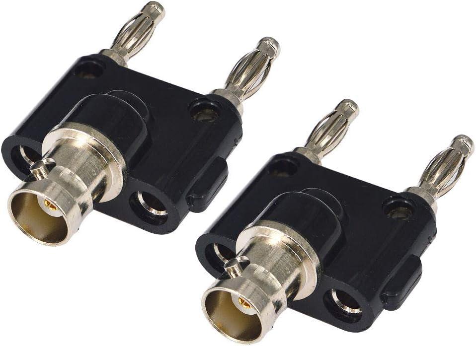 BNC Male Plug to 2X 4mm Dual Banana Female Jack Socket Binding Post RF Coax Coaxial Splitter Connector 2 Pack DCFun BNC to Banana Adapter