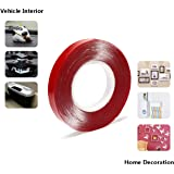 SVT TAPES 12 mm Red Polyester Strong Acrylic Adhesive Clear Double-Sided Heat Resistant Transparent Tape (25 MTS Length)