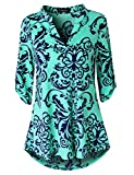 Zattcas Womens Floral Printed Tunic Shirts 3/4 Roll Sleeve Notch Neck Tunic Top (XX-Large, Green)