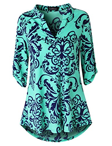 Zattcas Womens Floral Printed Tunic Shirts 3/4 Roll Sleeve Notch Neck Tunic Top (X-Large, Green)