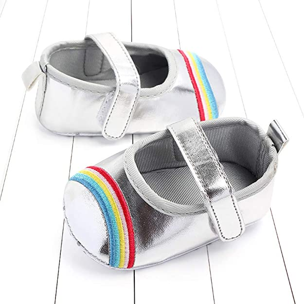 AgrinTol Cute Baby Girls Newborn Infant Rainbow Bling Casual First Walker Toddler Shoes