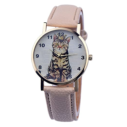 Linda Sencillo Imperial Corona Gato Correa de Cuero Cuarzo Mujer Niña Niños Reloj de Pulsera, Beige: Amazon.es: Relojes