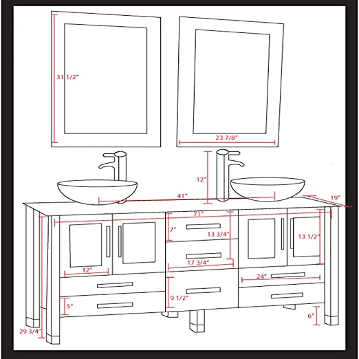 double sink vanity sizes. Amazon Com  71 Inch Espresso Modern Bathroom Double Vanity Set Lafayette Chrome Faucets Home Kitchen