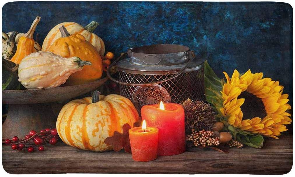 INTERESTPRINT Autumn Thanksgiving Candle Sunflower and Pumpkins Doormat Non Slip Indoor Outdoor Floor Mat Home Decor, Entrance Rug Rubber Backing 30 L x 18 W