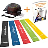 Exercise Resistance Bands with Huge Workout E-Book. Best Stretch Loops from Natural Latex, 42% Stronger. Heavy Elastic Booty Band Set for Legs, Fitness and Strength Training. Physical Therapy Equipment