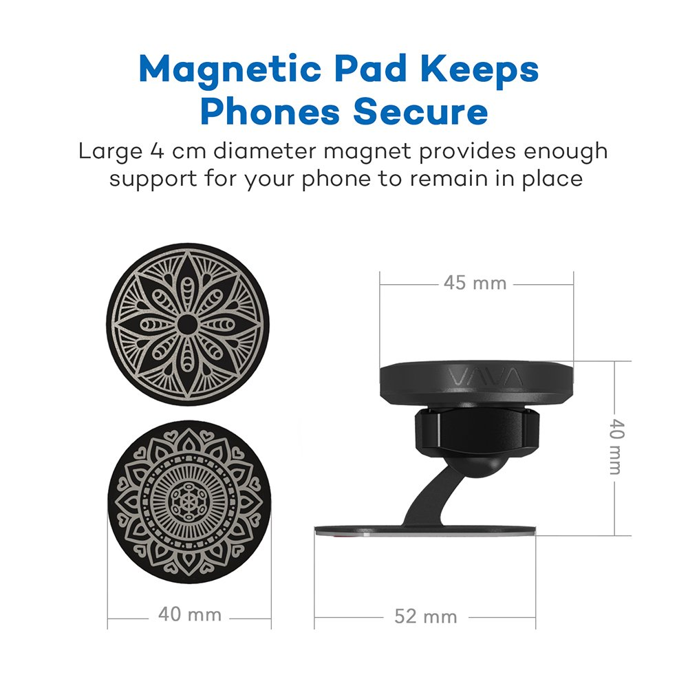 VAVA Magnetic Phone Holder for Car, Universal Stick On Dashboard Magnetic Car Phone Mount (360° Adjustable Holder with 3M Adhesive Covering and Two Metal Plates; Quick and Easy Installation) by VAVA (Image #5)