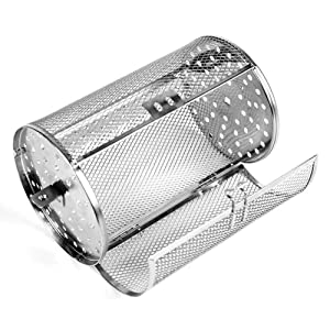 INLAR Rotisserie Grill Peanut Beans French Fries Basket Coffee Bean BBQ Grill Roaster Baking Rotary Stainless Steel Grilled Cage DIY Nuts Beans Electric Oven(Silver)