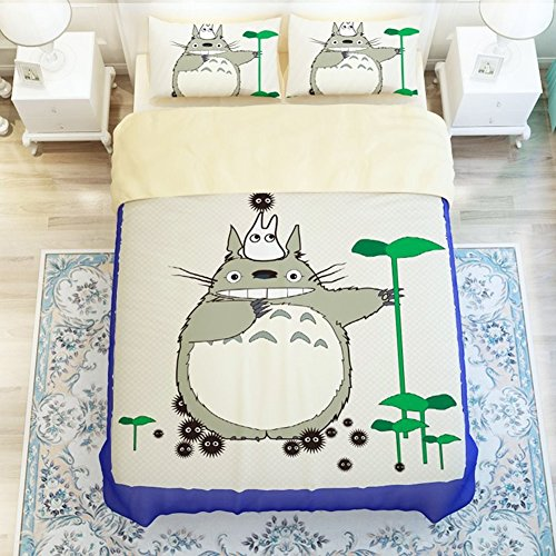 Cartoon My Neighbor Totoro Bedding Sets - Sport Do Ultra Soft Children Favorite Gifts Flat Sheet 4PC Full by Sport Do