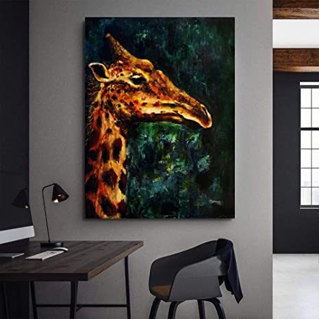 xingbu Giraffe In Misty Evening Canvas ng Graffiti Animal ...