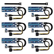 PCI-E Riser Adapter,Bermunavy Graphic Card Crypto Currency Mining PCI Express Riser with USB 3.0 Extension Cable SATA to Molex 6 Pin Power Cable for GPU Card Extend 1x to 16x Motherboard Slots(2 Pack)