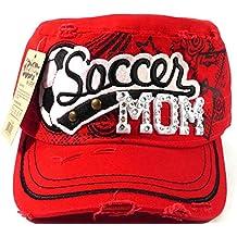Rhinestone Soccer MOM Vintage Cadet Hats Fashion - Red