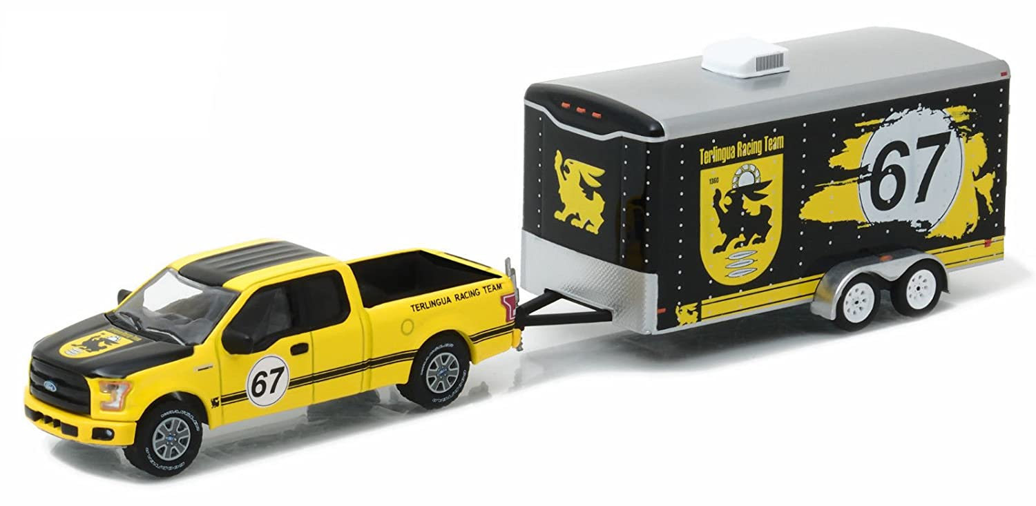 New 1 64 HITCH TOW SERIES 9 YELLOW 2015 FORD F 150 ENCLOSED CAR TRAILER Diecast Model Car By Greenlight