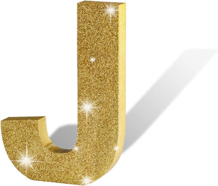 """Aimto Gold Glitter Wooden Alphabet Letters J - 5.9""""(L) x4.17(H) x0.6(W)"""