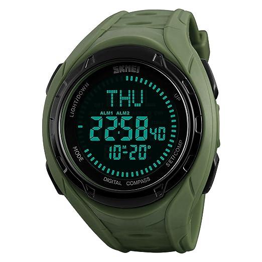 Relojes deportivos multifuncionales del mundo de la brújula, Relojes digitales luminosos impermeables de los hombres de Farsler 50M: Amazon.es: Relojes